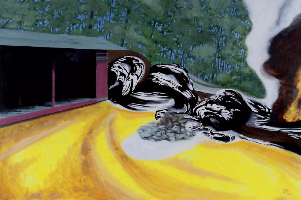 Jiri Hauschka, painter, stuckism, art, Fireplace